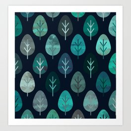 Watercolor Forest Pattern #7 Art Print