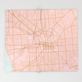 Pink and gold Adelaide map Throw Blanket