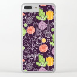 Vegetable Pattern Scandinavian Design Clear iPhone Case