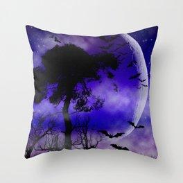 Dark Art Silhoutte - Monster Moon Throw Pillow