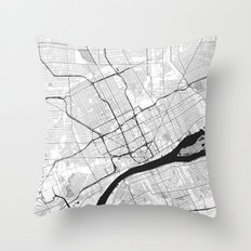 Detroit Map Gray Throw Pillow