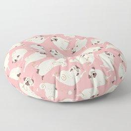 Peppy Pugs pattern - pink salmon Floor Pillow