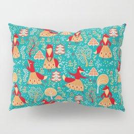 Dancing foxes in a fairy forest. Folk Art. Seamless pattern. Green background. Pillow Sham