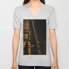Bay Bridge Fire Boat at Night Unisex V-Neck