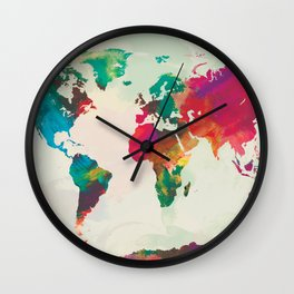 Watercolor World Map Wall Clock