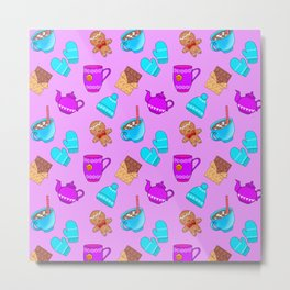 Lovely gingerbread men cookies, chocolate, hot cocoa with marshmallows, cute girly winter pattern Metal Print