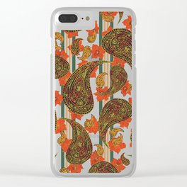 Paisley and Stripe Clear iPhone Case