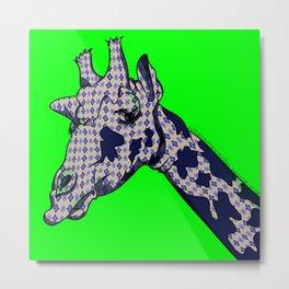 Argyle Giraffe Metal Print