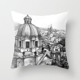 Prague over the rooftops Throw Pillow
