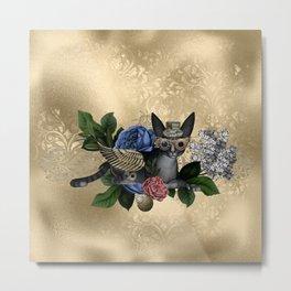 Funny steampunk cat Metal Print