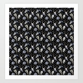 Animal Skulls Pattern Art Print