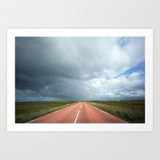 red roads ahead Art Print