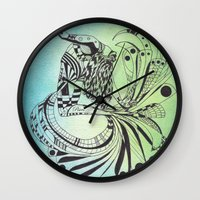 pisces Wall Clocks featuring Pisces by NoMoreWinters