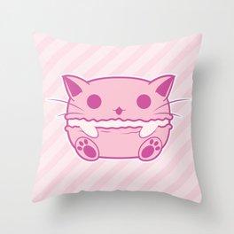 Pink Kawaii Cat Macaroon Throw Pillow