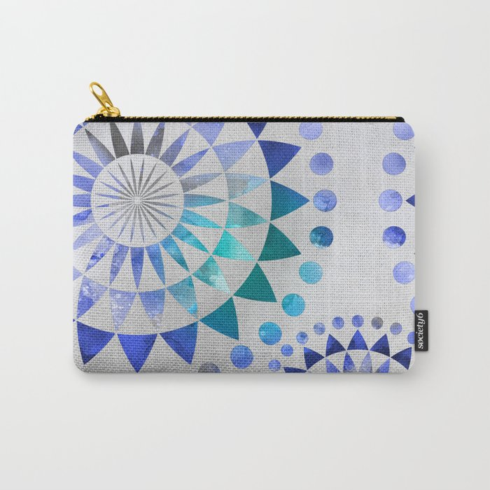 Mandala Pattern blue and turquoise Carry-All Pouch