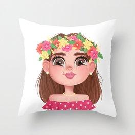 The Head of a Slavic Girl Throw Pillow