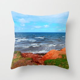 Rolling Waves in East Point PEI Throw Pillow