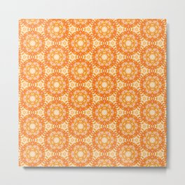 Marigold Kaleidoscope Peach and Burnt Sienna Metal Print