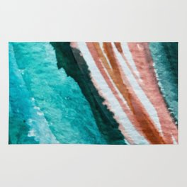 Here's to the Dreamers: a minimal, watercolor abstract piece in pinks, green, blue, and white Rug