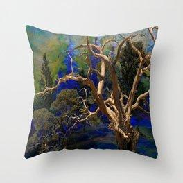 CONTEMPORARY BLUE  WILDERNESS ART  DESIGN Throw Pillow