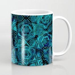 Starry Deep Blue Night Sky , Abstract Geometric Pattern with Moon Lit Domino Stars Coffee Mug