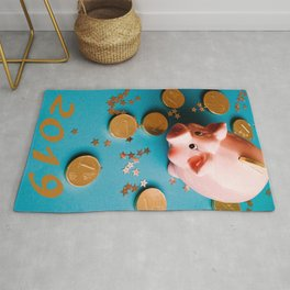 Piggy Bank On The Background With The Chocoladen Coins Rug
