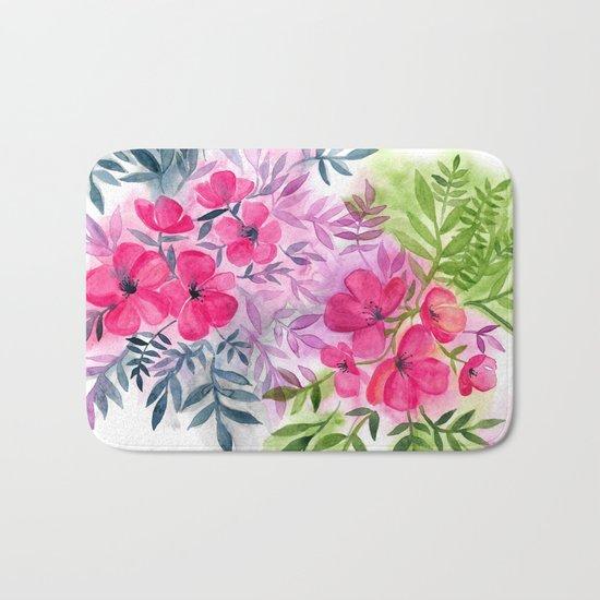 Dual Bouquets - a watercolor floral Bath Mat