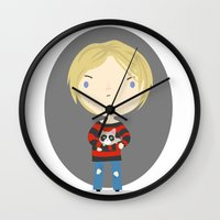 kurt cobain Wall Clocks featuring Cat Cobain by Maria Jose Da Luz