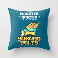 monster hunter Throw Pillows featuring Monster Hunter All Stars - The Yukumo Bolts by Bleached ink