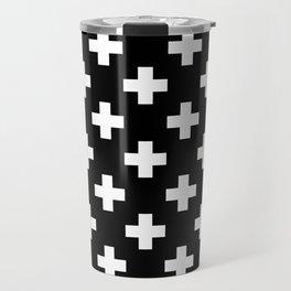Black & White Plus Sign Pattern Travel Mug