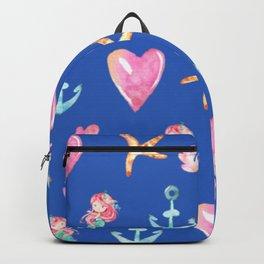 Beautiful Mermaid Theme Pattern Cute Gift for Girls Starfish Hearts Anchor Mermaid Backpack