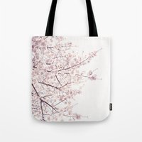 cherry blossom Tote Bags featuring cherry blossom by Neon Wildlife