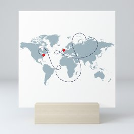 NY to UK Long Distance World Map Dusty Blue on White Mini Art Print