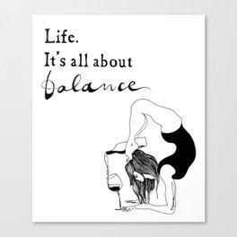funny yoga print, original yoga art, unique yoga gift, black and white, modern, yoga wine, yogi Canvas Print