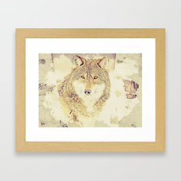 wolf digital art Framed Art Print