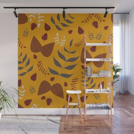 Autumn leaves and acorns - ochre and brown Wall Mural