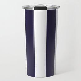 Dark eclipse Blue and White Wide Vertical Cabana Tent Stripe Travel Mug