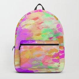 juicy kiss lipstick abstract pattern in pink orange green purple Backpack