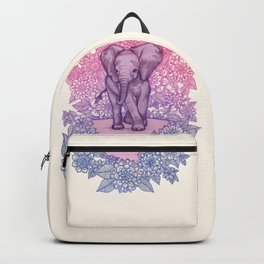 Cute Baby Elephant in pink, purple & blue Backpack