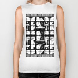 Geometric Black and White Tribal-Inspired Woven Pattern Biker Tank