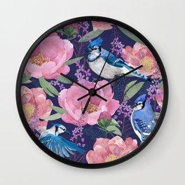 Jay bird and peonies pink Wall Clock