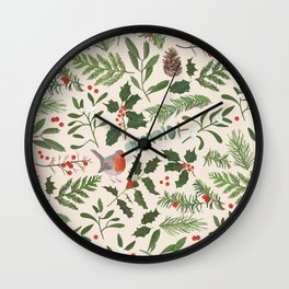 Robin in a Winter Garden Wall Clock
