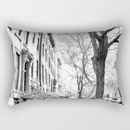 Cobble Hill Brooklyn Winter Black and White Brownstone Rectangular Pillow