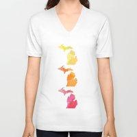 michigan V-neck T-shirts featuring Michigan by Aubrey Kemme Design
