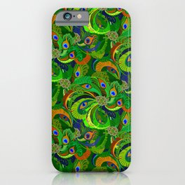 Peacock Neck Gator Green Retro Peacock Feathers iPhone Case