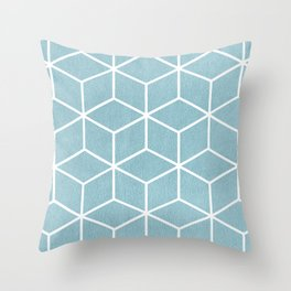Light Blue and White - Geometric Textured Cube Design Throw Pillow