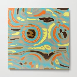 Abstract Design in Orange, Brown, Black and Yellow on Gray Metal Print