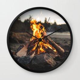 Campfires along the Coast Wall Clock