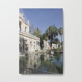 Royal Gardens Reflection - Alcazar of Seville Metal Print