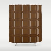 chocolate Shower Curtains featuring Chocolate by Mercesart